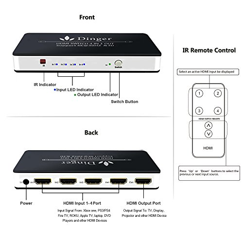 4 Port HDMI Switcher, Dingsun HDMI Switch IR Wireless Remote Control HDMI  Switch Box Support 4K, 1080P, 3D (4 IN 1 OUT HDMI Switch)
